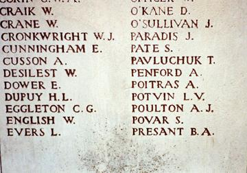 Bert Arthur Presant name on the Menin Gate, Ypres, Belgium who was killed in action with the Canadian Army in World War I